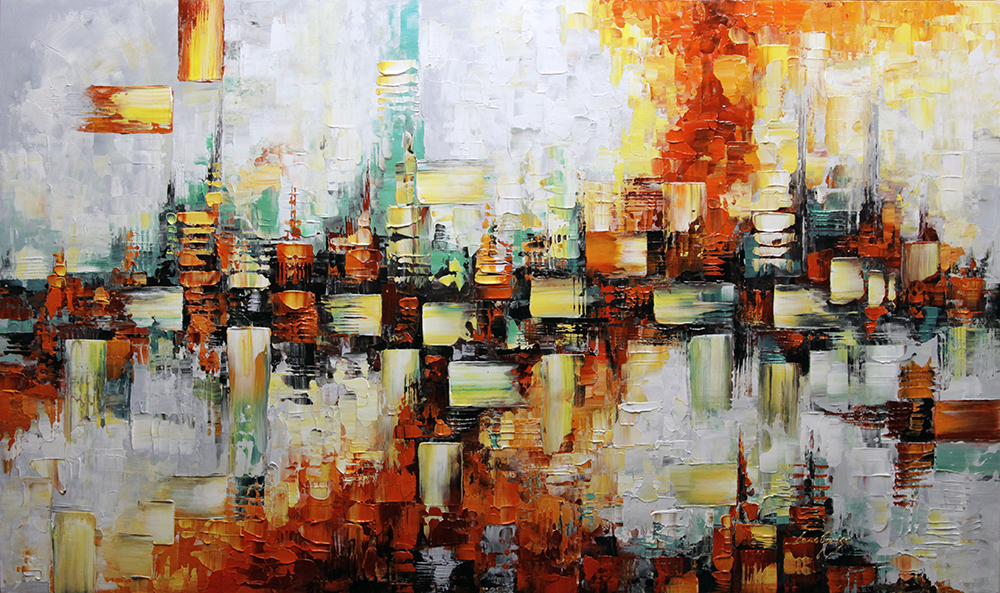 Anima II - abstract Palette Knife Original Oil Paintings On Canvas By Lana Guise