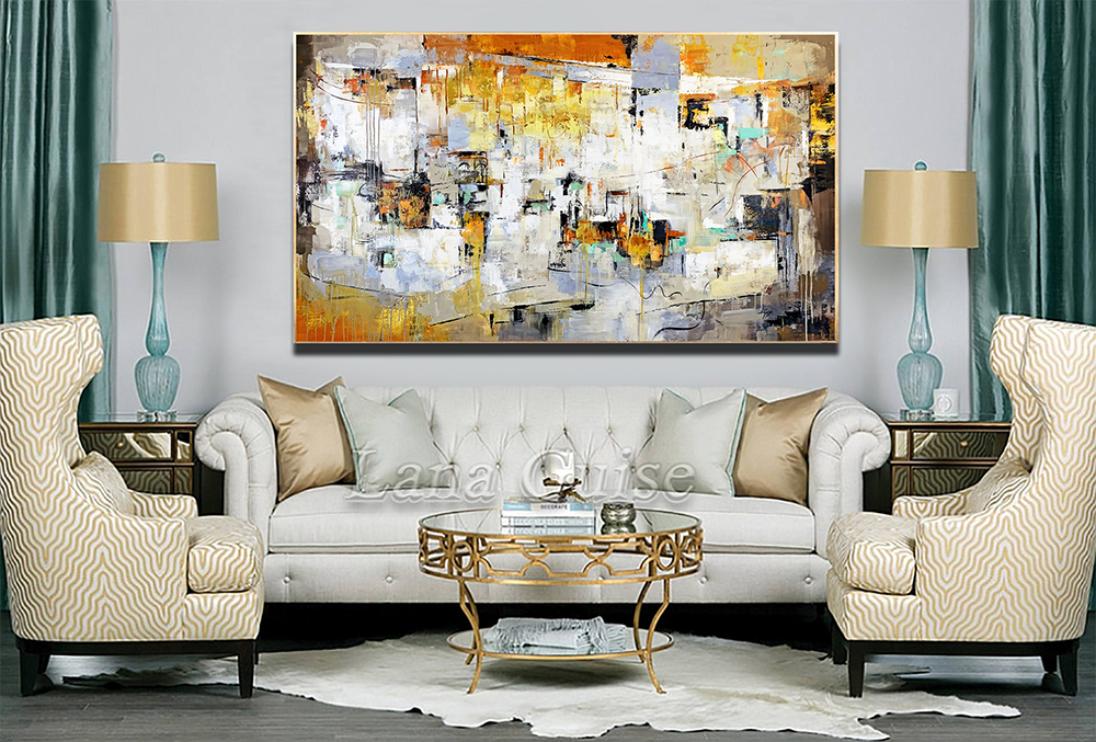 Barrio - abstract Palette Knife Original Oil Paintings On Canvas By Lana Guise