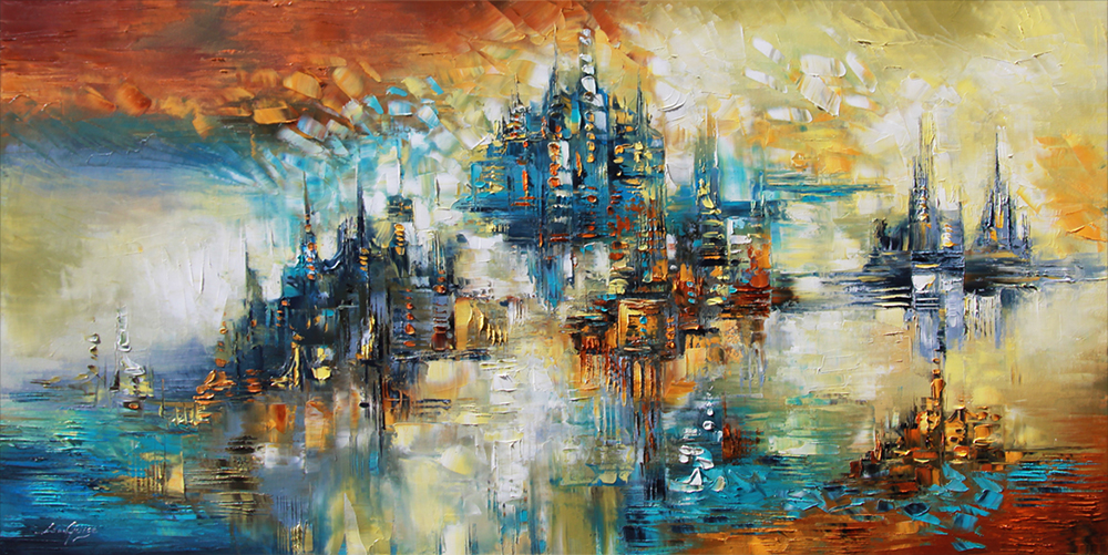 Castels in the Air - abstract Palette Knife Original Oil Paintings On Canvas By Lana Guise