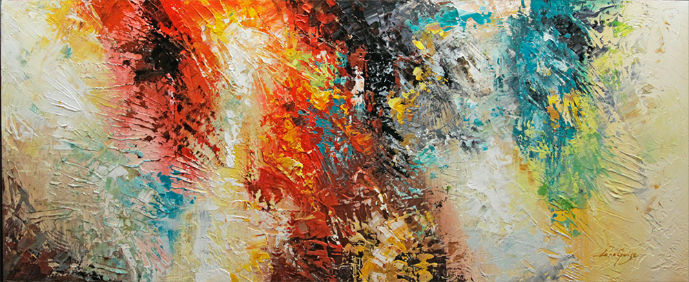 Deja Vu - abstract Palette Knife Original Oil Paintings On Canvas By Lana Guise