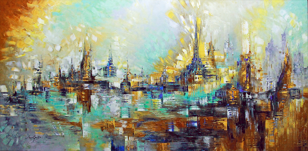 Fireworks in Paris - abstract Palette Knife Original Oil Paintings On Canvas By Lana Guise