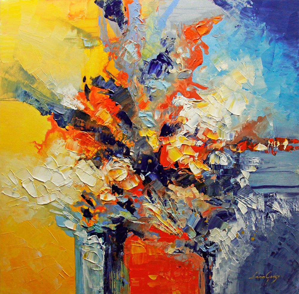 Into the Blue - abstract Palette Knife Original Oil Paintings On Canvas By Lana Guise