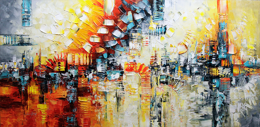 Remember the Time - abstract Palette Knife Original Oil Paintings On Canvas By Lana Guise