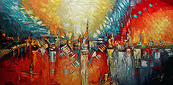 STILL ON FIRE - ABSTRACT Painting n.21 Palette Knife Original Oil Paintings On Canvas By Lana Guise