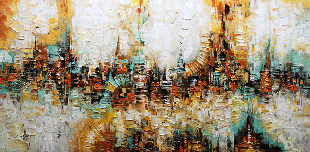 Visions of Reality - abstract Palette Knife Original Oil Paintings On Canvas By Lana Guise
