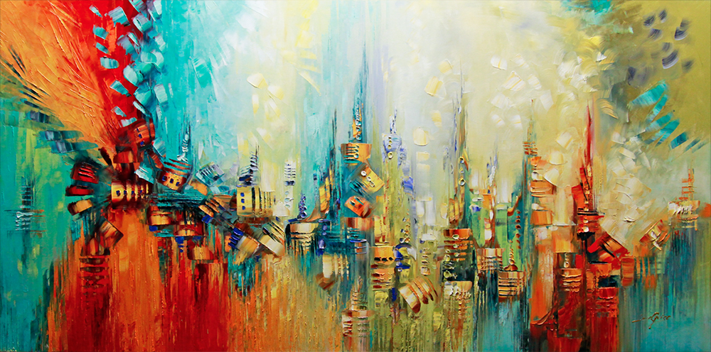 Vivere a colori - abstract Palette Knife Original Oil Paintings On Canvas By Lana Guise