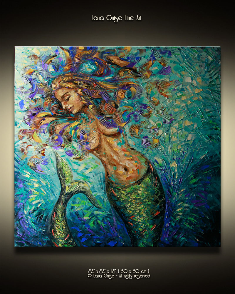 Deep Sea Angel - figurative Palette Knife Original Oil Paintings On Canvas By Lana Guise