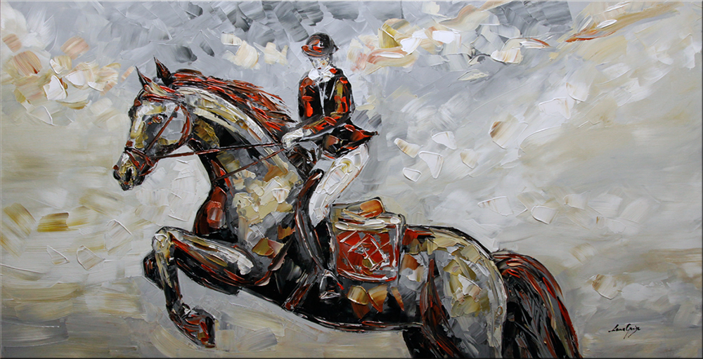Victory - figurative Palette Knife Original Oil Paintings On Canvas By Lana Guise
