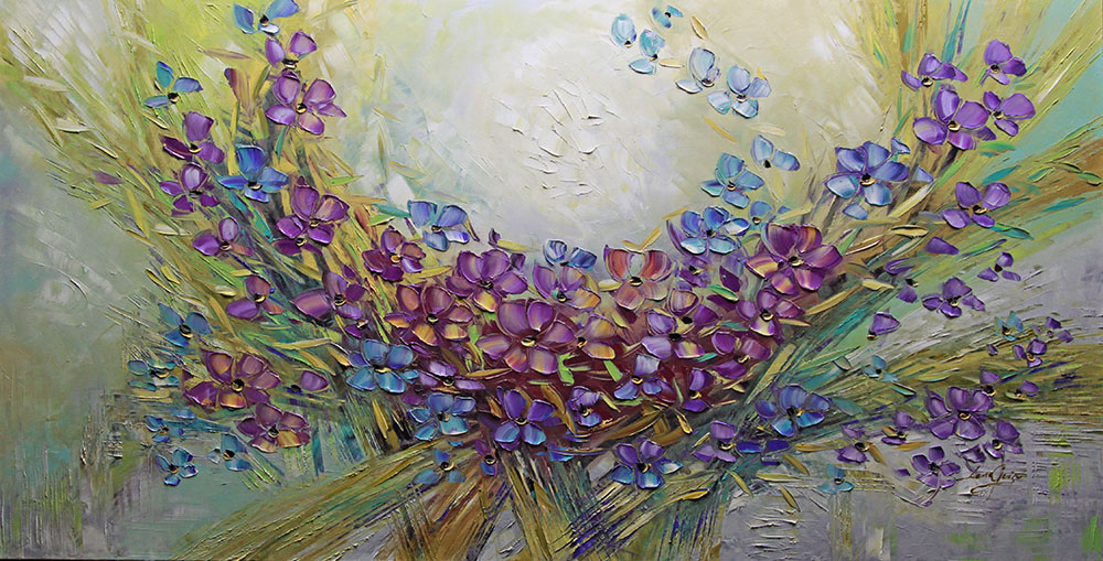 A little bit of Heaven - floral-art Palette Knife Original Oil Paintings On Canvas By Lana Guise