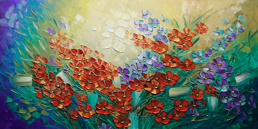 Beauty in Bloom - floral-art Palette Knife Original Oil Paintings On Canvas By Lana Guise