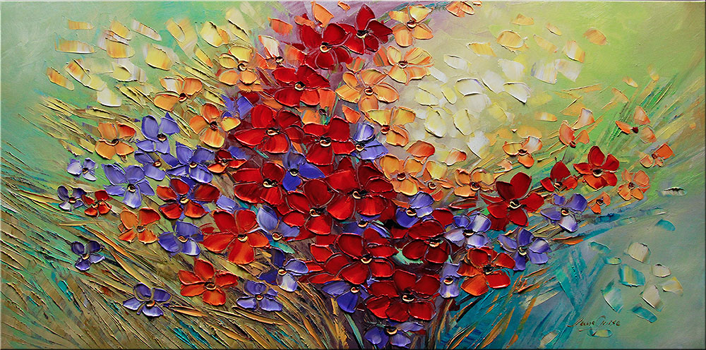 Born to be Wild - floral-art Palette Knife Original Oil Paintings On Canvas By Lana Guise