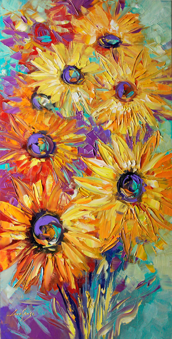 Dancing Lights - floral-art Palette Knife Original Oil Paintings On Canvas By Lana Guise