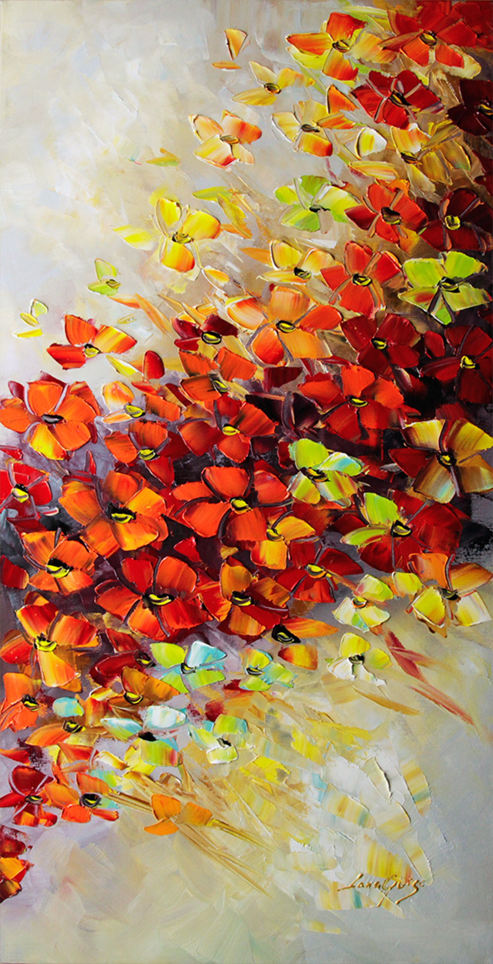 Flame of Love - floral-art Palette Knife Original Oil Paintings On Canvas By Lana Guise