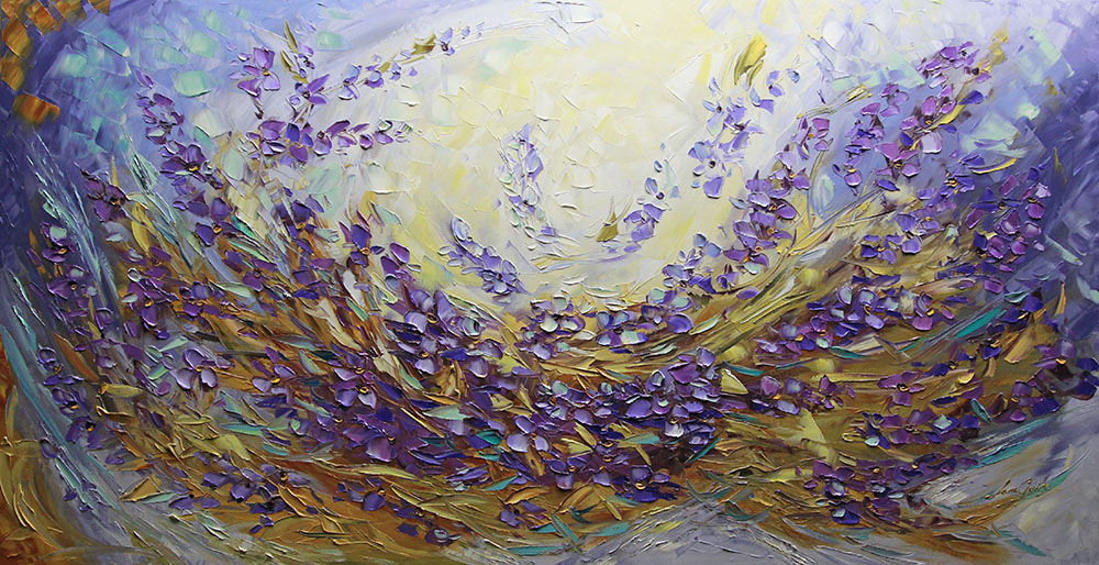 Lavender Fields - floral-art Palette Knife Original Oil Paintings On Canvas By Lana Guise