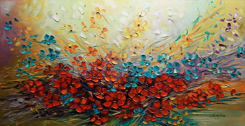 Million Dreams - floral-art Palette Knife Original Oil Paintings On Canvas By Lana Guise