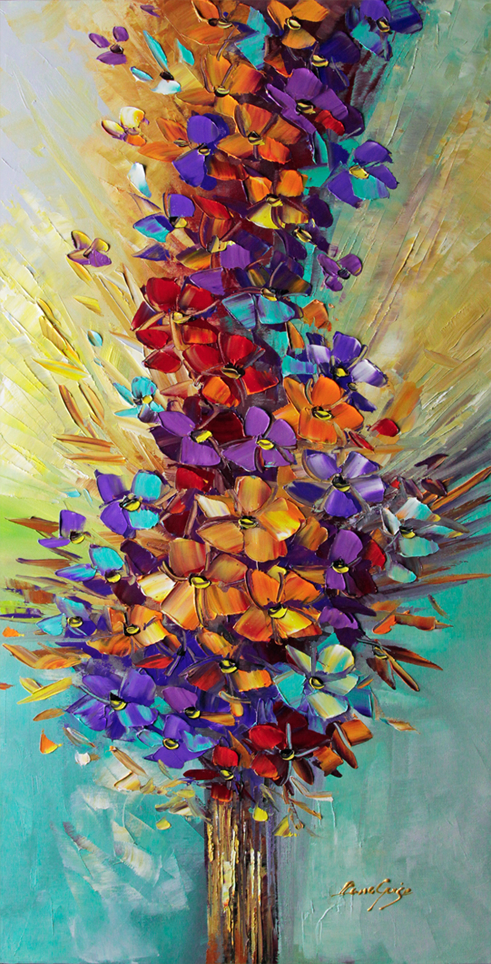 Seasons of Love - floral-art Palette Knife Original Oil Paintings On Canvas By Lana Guise