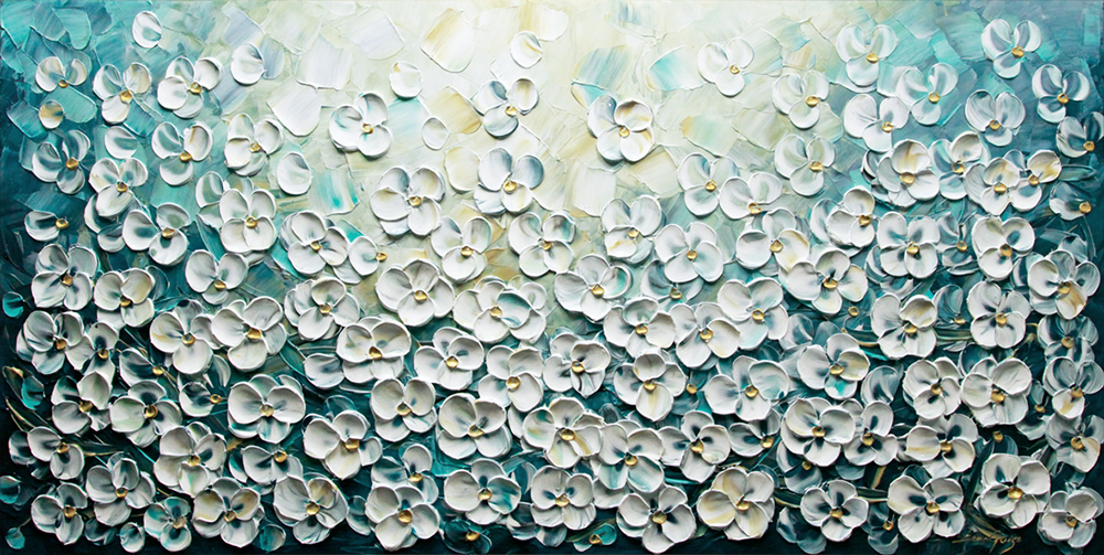 Summer Breeze - floral-art Palette Knife Original Oil Paintings On Canvas By Lana Guise