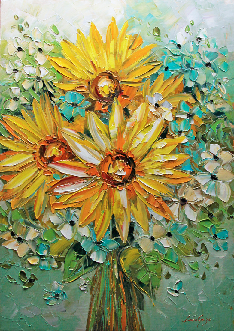 Sunflowers - floral-art Palette Knife Original Oil Paintings On Canvas By Lana Guise