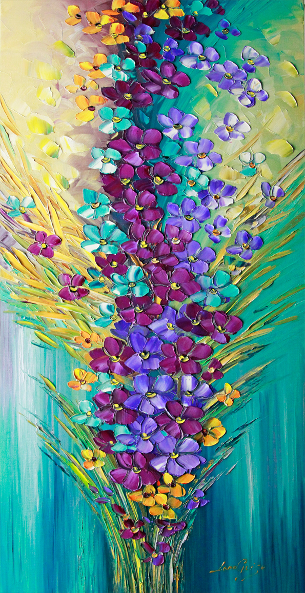 Together for Eternity - floral-art Palette Knife Original Oil Paintings On Canvas By Lana Guise