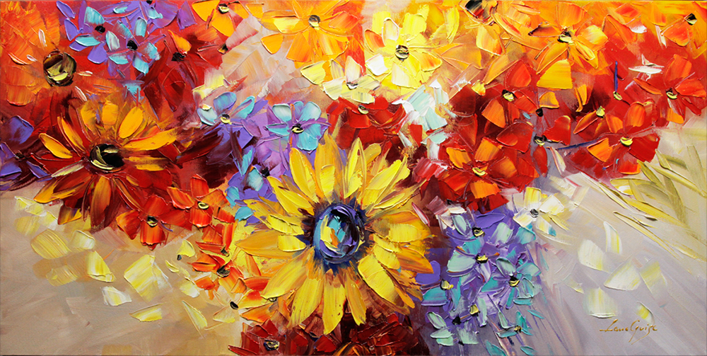 Where Dreams Come True - floral-art Palette Knife Original Oil Paintings On Canvas By Lana Guise