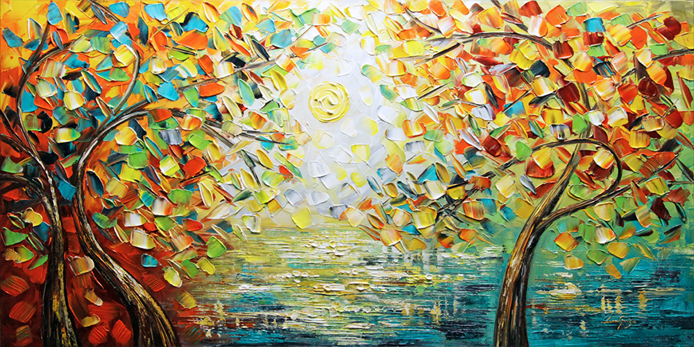 Dance of Angels - landscapes Palette Knife Original Oil Paintings On Canvas By Lana Guise
