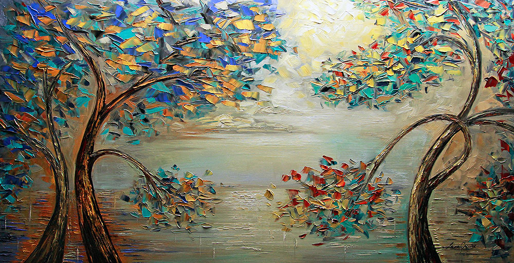 Dream of a Spring Morning - landscapes Palette Knife Original Oil Paintings On Canvas By Lana Guise