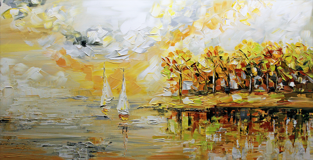 Dreams are like Water - landscapes Palette Knife Original Oil Paintings On Canvas By Lana Guise