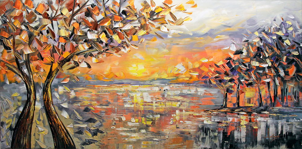 Early Sunset - landscapes Palette Knife Original Oil Paintings On Canvas By Lana Guise