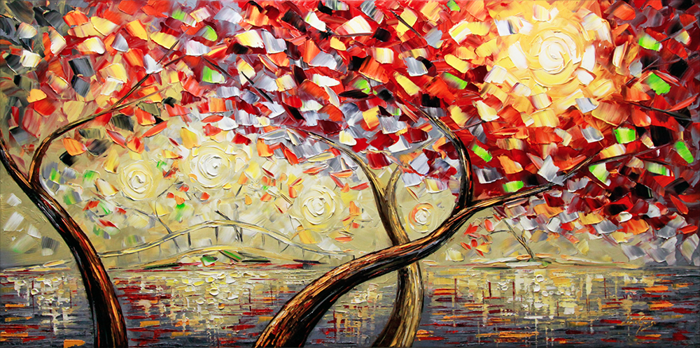 Morning in Wonderland - landscapes Palette Knife Original Oil Paintings On Canvas By Lana Guise