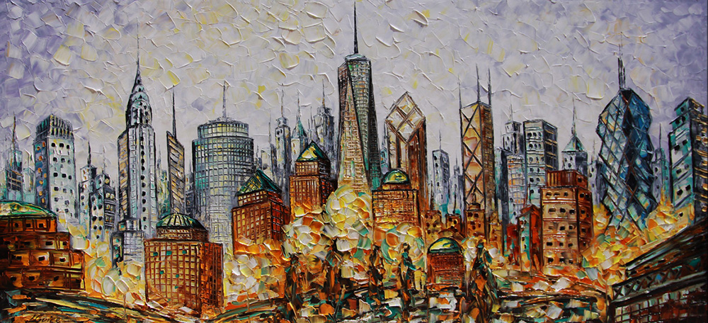 New York - landscapes Palette Knife Original Oil Paintings On Canvas By Lana Guise