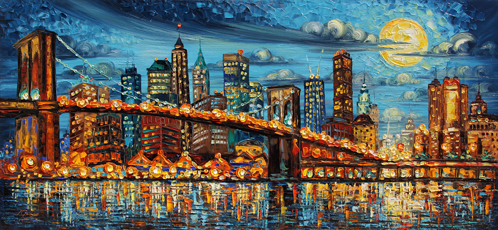 New York II - landscapes Palette Knife Original Oil Paintings On Canvas By Lana Guise