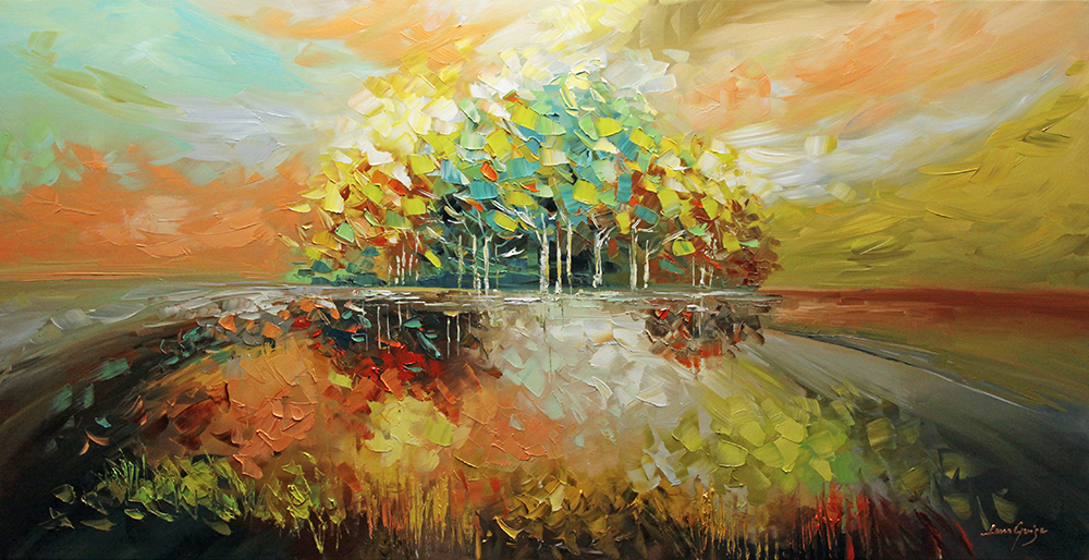 Pure Bliss - landscapes Palette Knife Original Oil Paintings On Canvas By Lana Guise