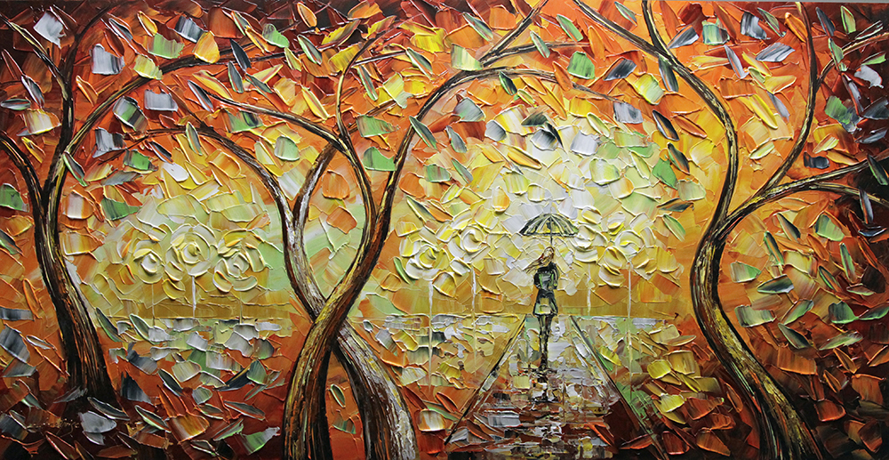 Rainy Sunset - landscapes Palette Knife Original Oil Paintings On Canvas By Lana Guise