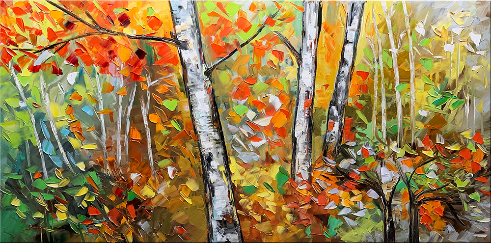 Red Autumn - landscapes Palette Knife Original Oil Paintings On Canvas By Lana Guise