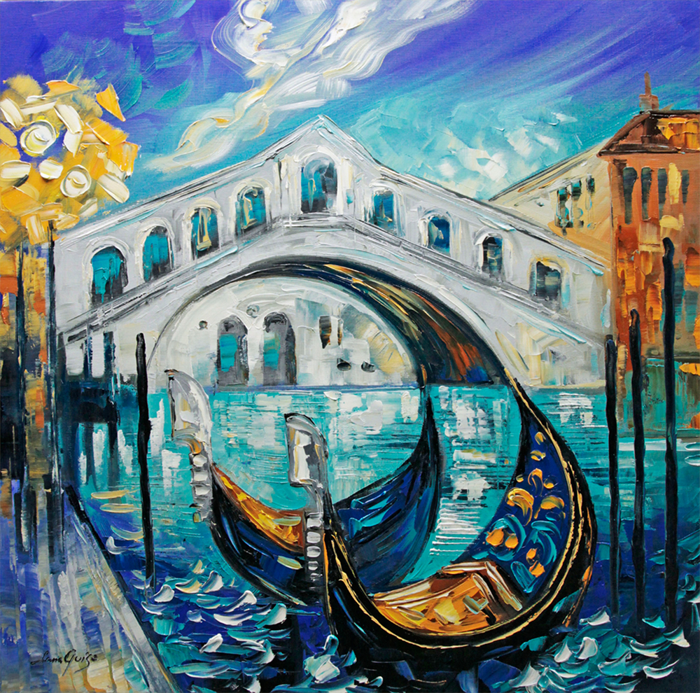 Rialto - landscapes Palette Knife Original Oil Paintings On Canvas By Lana Guise