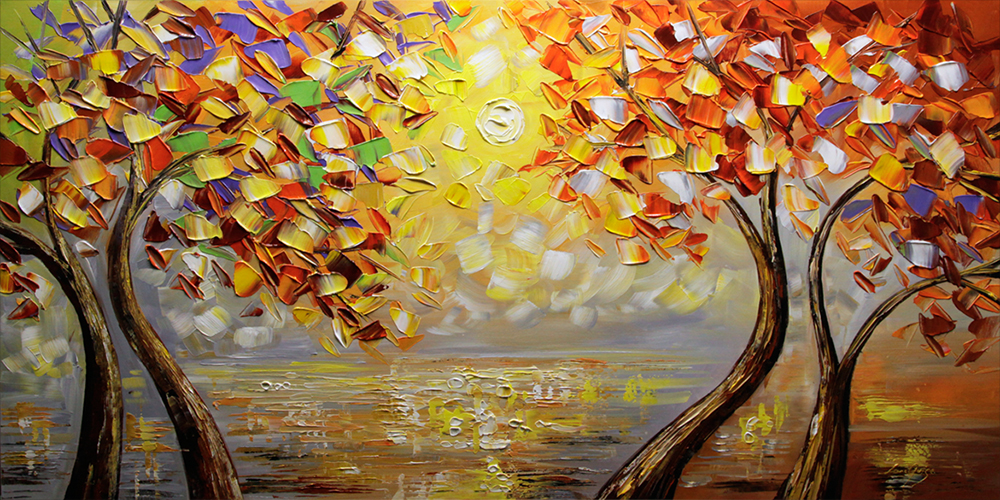 September's Beauty - landscapes Palette Knife Original Oil Paintings On Canvas By Lana Guise