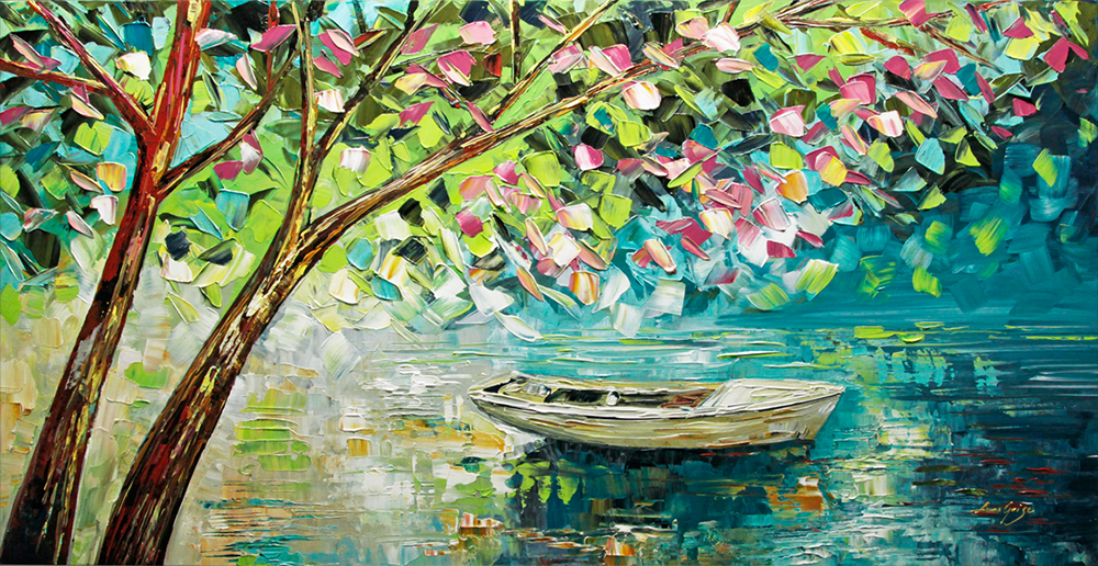 Spring Blossom - landscapes Palette Knife Original Oil Paintings On Canvas By Lana Guise