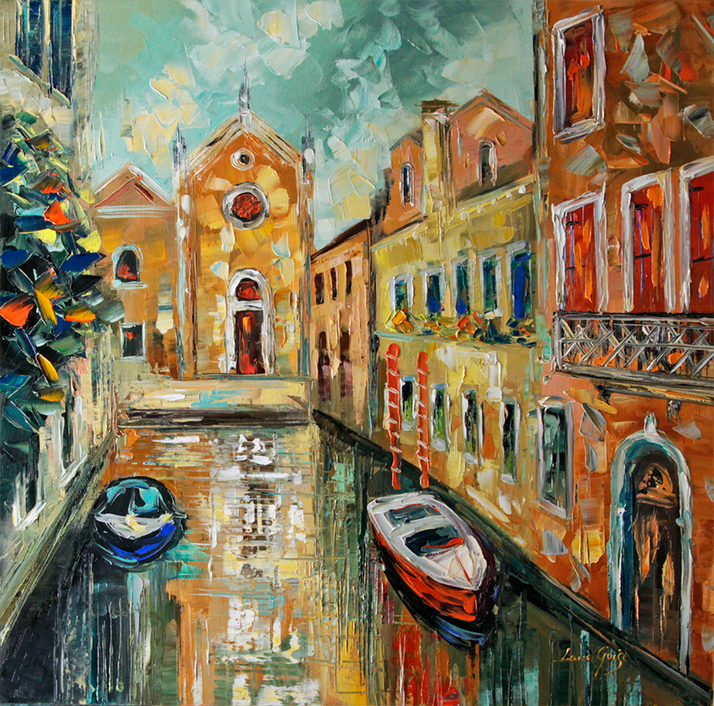 Summer in Venice - landscapes Palette Knife Original Oil Paintings On Canvas By Lana Guise