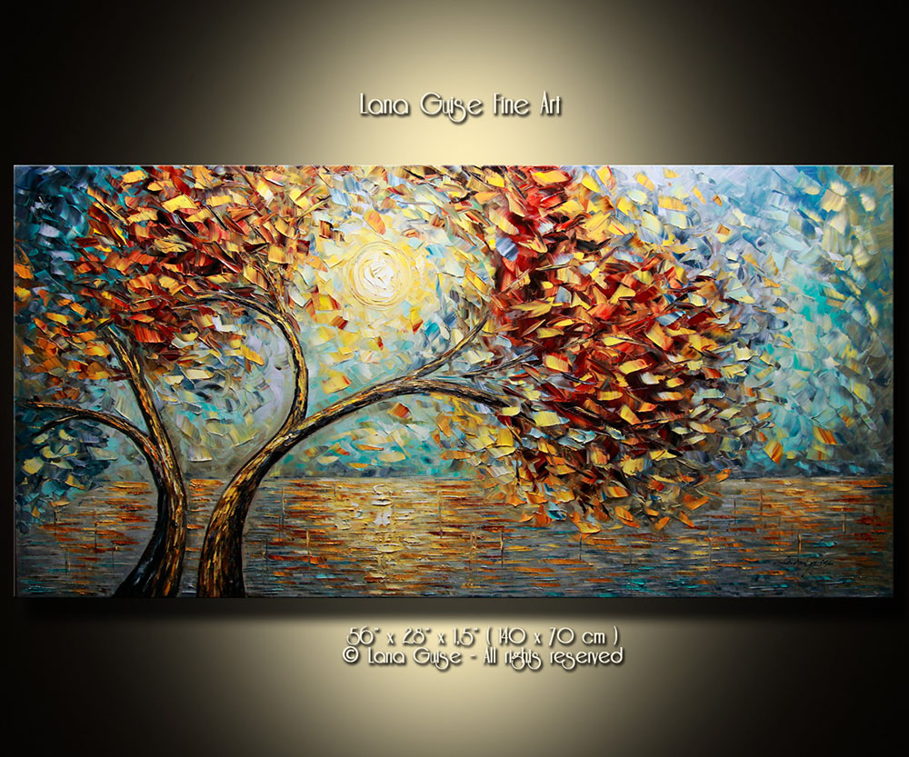 Sun's Symphony - landscapes Palette Knife Original Oil Paintings On Canvas By Lana Guise