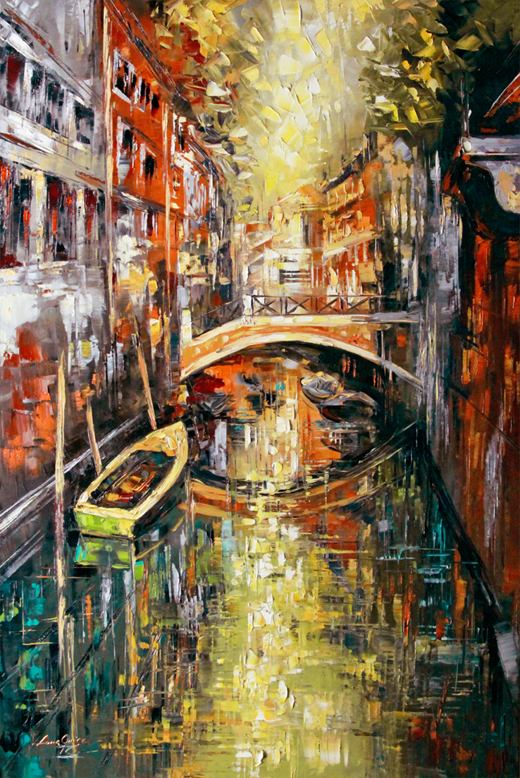 Venice - landscapes Palette Knife Original Oil Paintings On Canvas By Lana Guise