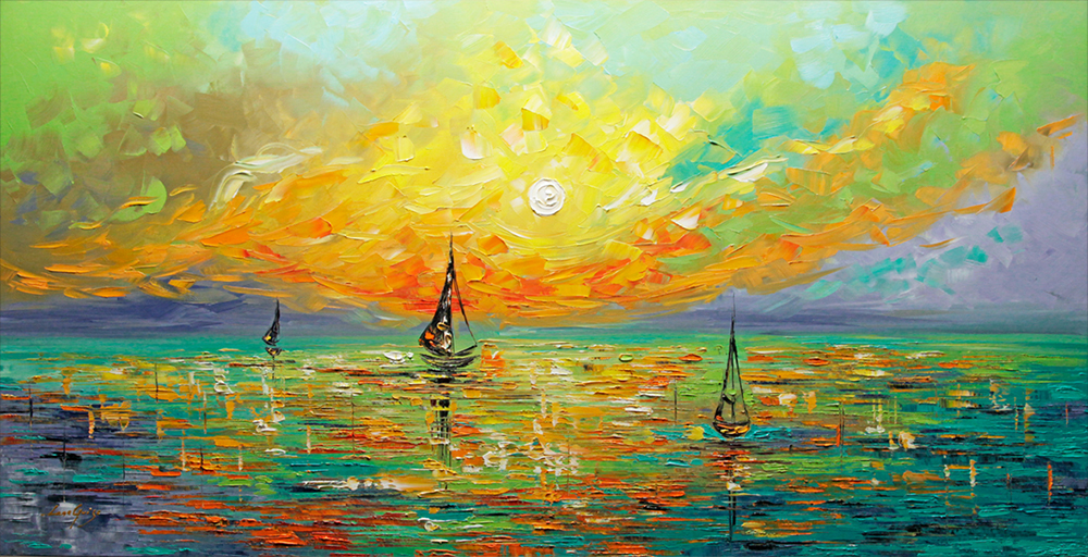 Somewhere At Sea - seascapes Palette Knife Original Oil Paintings On Canvas By Lana Guise
