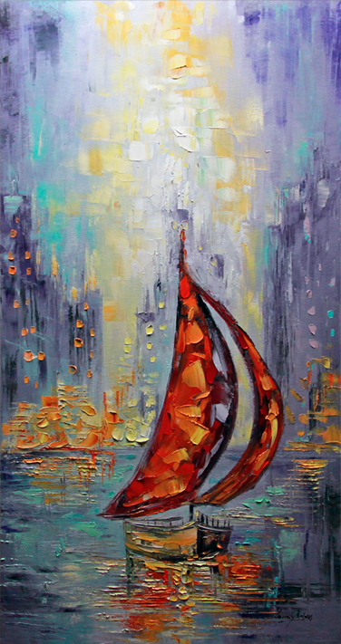 Just Another Day - seascapes Palette Knife Original Oil Paintings On Canvas By Lana Guise