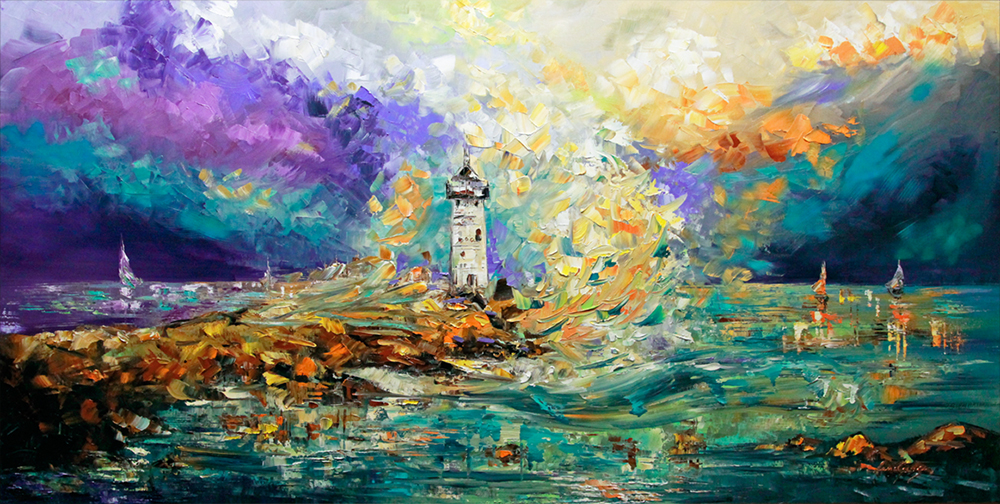 Mysterious - seascapes Palette Knife Original Oil Paintings On Canvas By Lana Guise