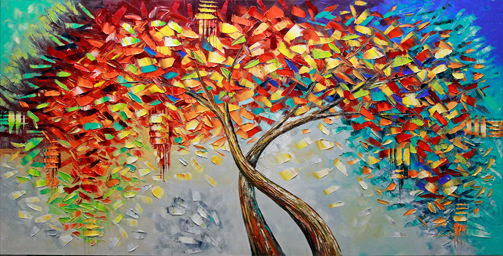A New Beginning - Sold but Recreatable - tree-art Palette Knife Original Oil Paintings On Canvas By Lana Guise