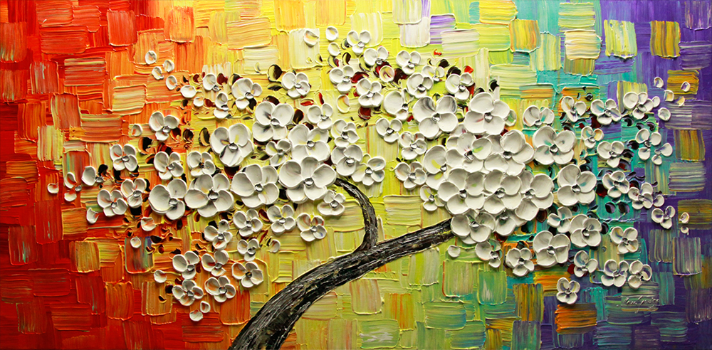 Colorful Magic - tree-art Palette Knife Original Oil Paintings On Canvas By Lana Guise