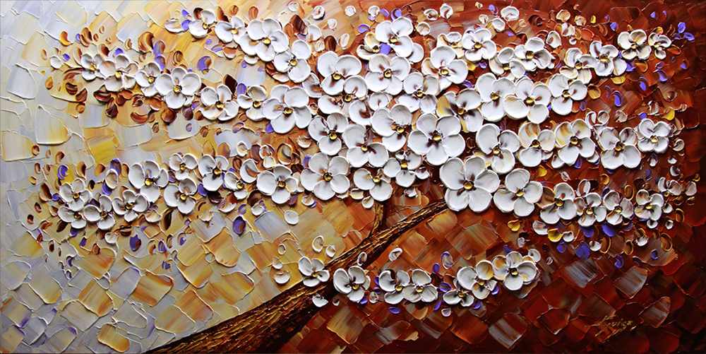 Enchanting beauty - tree-art Palette Knife Original Oil Paintings On Canvas By Lana Guise
