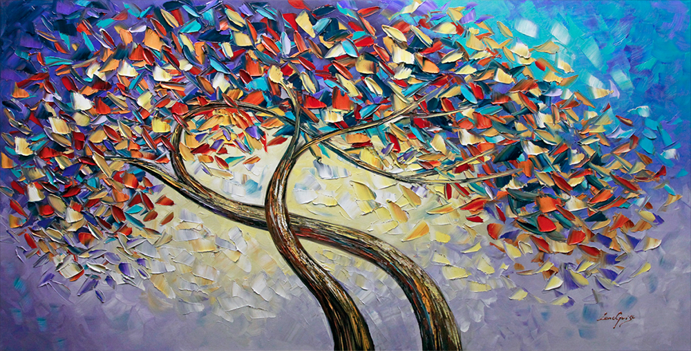 Eternity of the Moment - tree-art Palette Knife Original Oil Paintings On Canvas By Lana Guise