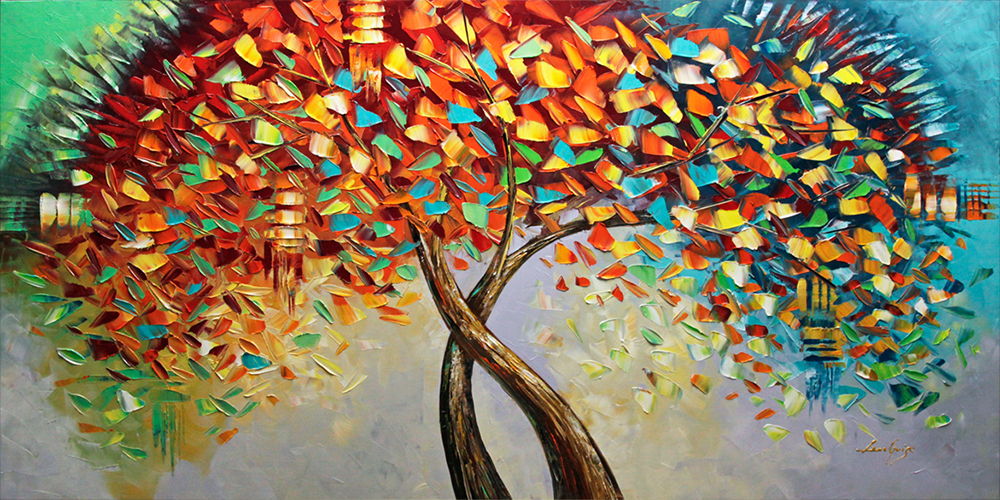 New Beginning - tree-art Palette Knife Original Oil Paintings On Canvas By Lana Guise