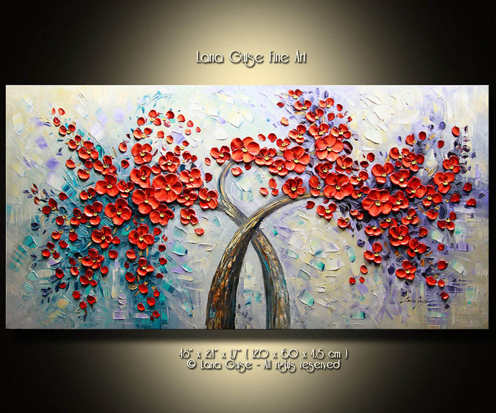 Passion Fire - tree-art Palette Knife Original Oil Paintings On Canvas By Lana Guise