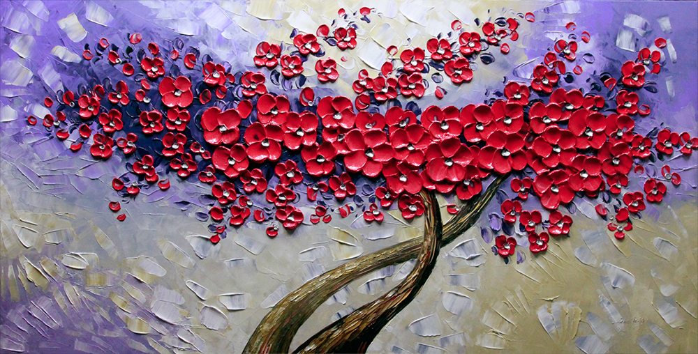 Sweet Emotion - tree-art Palette Knife Original Oil Paintings On Canvas By Lana Guise